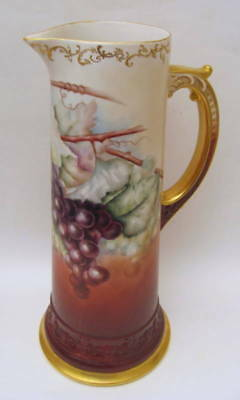 "Large Hand Painted 14.5"" Antique American Belleek Grapes Tankard 1894-1906"