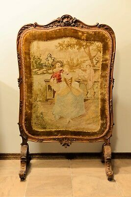Antique 1900s European Needlepoint Embroidery Fabric Fireplace Screen