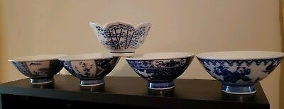 Set of 5 Vintage Misc. Blue and White Pattern Japanese Rice bowls