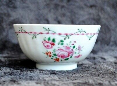 18Th Century Chinese Hand Painted Famille Rose Tea Bowl