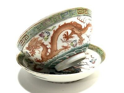 Antique Porcelain Chinese Hand Painted Dragon Motif Bowl & Under Plate