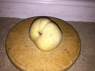Early Vintage Antique Italian Alabaster Stone Fruit White Peach Old Patina NM