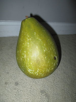 Early Vintage Antique Italian Alabaster Stone Fruit Oversized Green Pear NM+