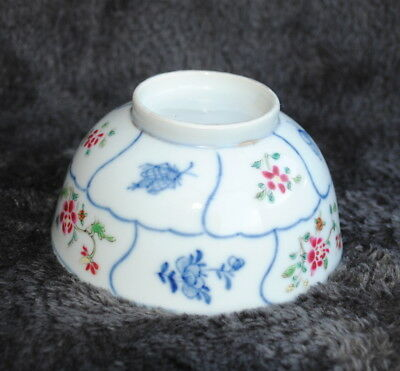 18Th Century Chinese Famille Rose Tea Bowl Hand Painted Chinese Moths & Flower