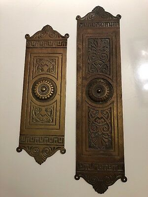 PAIR of VINTAGE ART DECO SOLID BRASS DOOR FINGER PUSH PLATES ornate