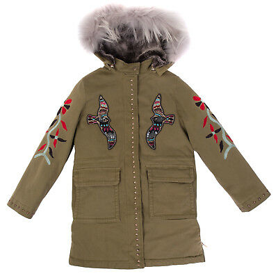 PINKO UP Parka Coat Size 6Y Faux Sherpa Inside Embroidered Hood With Raccoon Fur