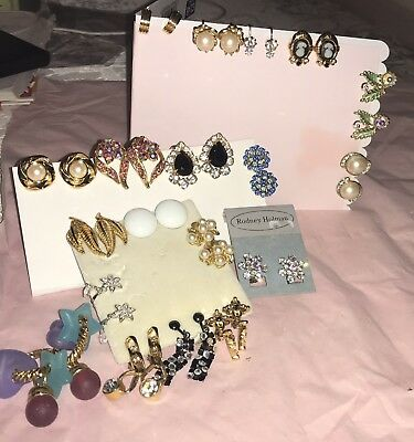 Job Lot of (19 ) Pairs Of Clip On Earrings -  Costume Jewellery Pre-owned