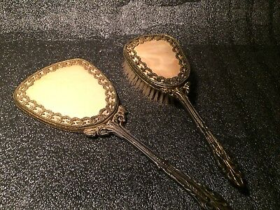 """Antique/Vintage Victorian Gold Gilded Large 12""""  Adult Mirror And Brush Set"""