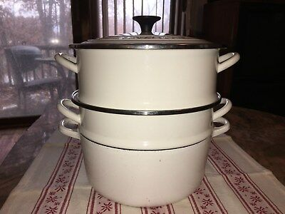 Le Creuset White #22 Vtg Set Steamer Cast Iron Porcelain Enamel Overlay France