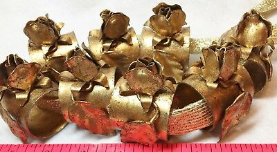 Angels Actn Vintage Napkin Rings 8 Italian Gold Gilt Tole Rose Hollywood Regency