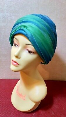 Vintage womans hat,blue & green ruched fabric,1960's