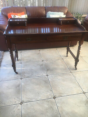 Antique 2 Drawer Mahogany Writing Desk On Castors