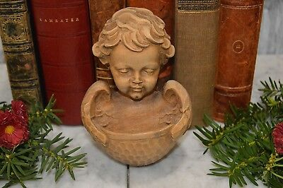 Antique German Natural Carved Wood Cherub Holy Water Font