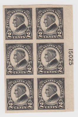 US #611 Plate Block of 6