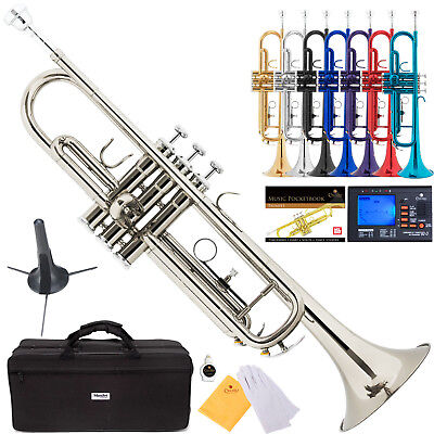 Mendini Bb Trumpet Gold Silver Black Blue Purple Red +Tuner+Case+CareKit