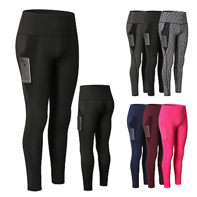 8cd8cbfba2929 Women's Sports Fitness Long Pants High Waist Gym Yoga Workout Tights with  Pocket