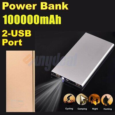 Portable 100000mAh Power Bank Dual USB External Battery Charger For Mobile Phone