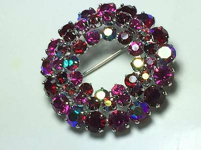 Vintage iridescent pink and red rhinestone brooch