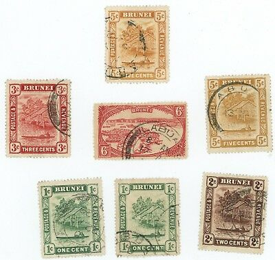 BRUNEI STAMPS 1915-1920s USED IN LABUAN SELECTION, INTERESTING CANCELS, VF