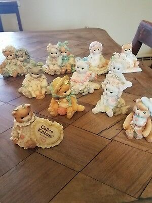 Enesco Calico Kittens 1992, Lot of 11 figurines