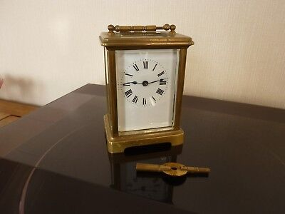 Vintage Brass French Carriage Clock in working Order with Key