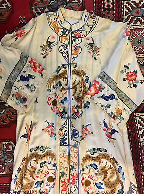 VTG Oriental Asian Chinese Silk Embroidered Robe Dragons Roses AS IS Antique
