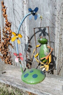 Metal Swinging Frog on a Stand Yard Art