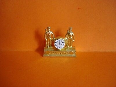 Vintage Dolls House - Ornate 'brass' Metal Mantle Clock - Lundby Scale