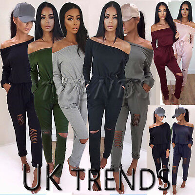 UK Womens One Shoulder Ripped Jumpsuit Ladies Bardot Party Playsuit Size6-14