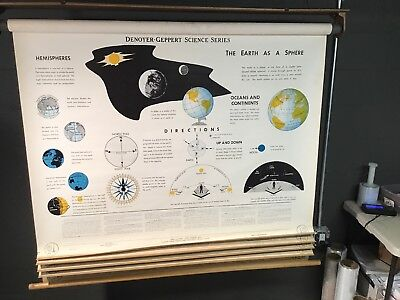 Denoyer Geppert 1963 School Classroom Map Earth Space Science 5 Panels HUGE 5-Ft