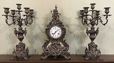 Old vintage Mantle Shelf Clock with candelabras