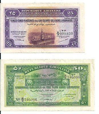 Lebanon-1942 Republique Libanaise 25 and 50 Piastres -RARE!