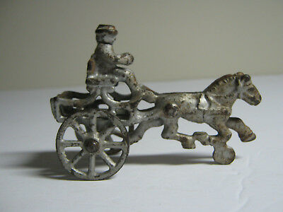 SMALL VINTAGE CAST IRON HORSE and CART with DRIVER