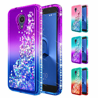 For Alcatel TCL LX A502DL Phone Case | Liquid Glitter Bling Defender Cover