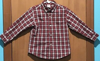 Gymboree Toddler Boy Button Down Shirt Red/Black Plaid Long Sleeve Chest Pocket