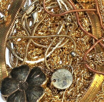 355Grams lot gold filled /plated/toned scrap jewelry  #654