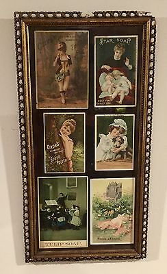 Six Original Victorian Advertising Cards In A Nice Gesso Frame