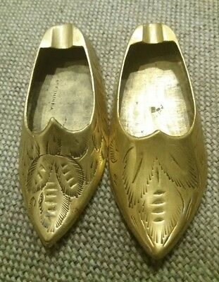 Vintage Brass Pair of Mini Shoes Figurines Collectables