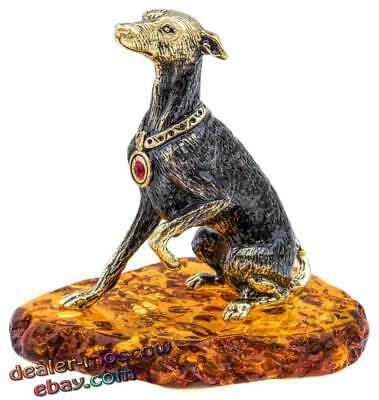 Bronze Solid Brass Baltic Amber Figurine Dog Italian Greyhound Statuette