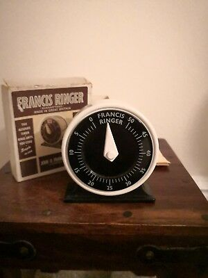 Vintage Francis Ringer Wind-up Timer Boxed Kitchen Cooking Kitsch 1940s? Rare