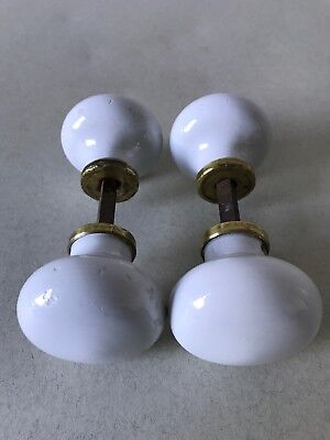 Vintage Reclaimed Victorian White Porcelain & Brass Door Knobs Handles * 2 Pairs