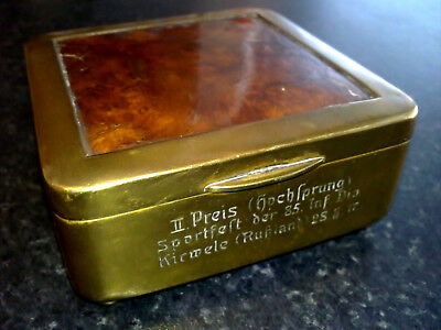 WW1 German Brass Inlaid Box ✨ Engraved 2nd Prize 85th Infantry Division 1917 WK1