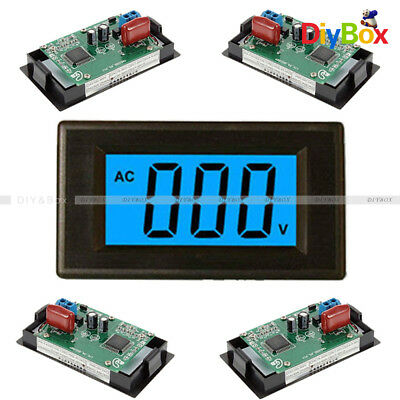 Digital Voltmeter Panel 2 or 4 wire AC 0-500V LCD Alternating Voltage Meter Blue