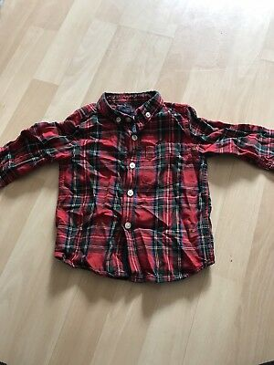 Next Boys Red Check Shirt 9-12 Months