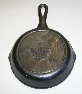 """Vintage Lodge Cast Iron Skillet 6"""" 3SK Double Pour New Old Stock"""