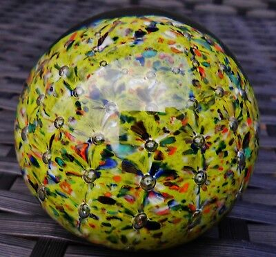Strathearn Medium Aurora Millefiori Frit Paperweight Multi Beautiful!