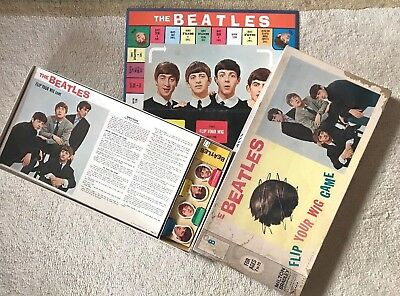 1964 Milton Bradley Beatles Flip Your Wig Game and Box John Paul George Ringo!