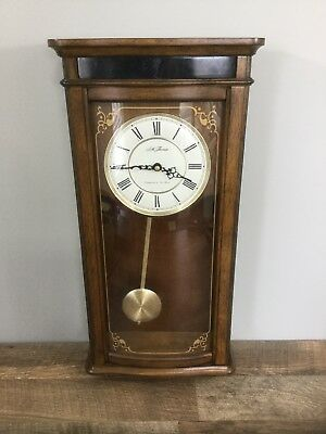 "Vintage Seth Thomas Wall Hanging Wood Chime Clock Westminster AVE Maria 23"" Tall"