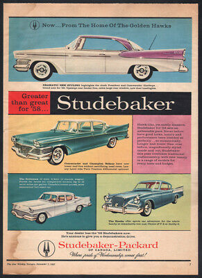 1958 Canadian Star Weekly ad Studebaker Packard President 2-dr Hardtop Canada