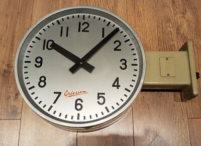 A 1960s Ericsson double sided industrial slave wall clock - Easy conversion VGC